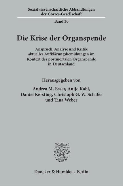 Die Krise der Organspende